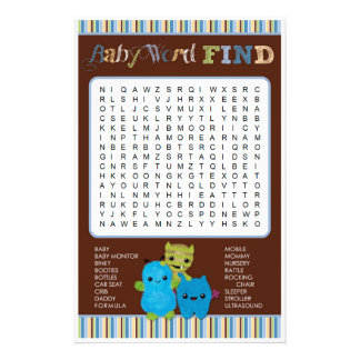Peek a Boo Monsters Baby Shower Game Word Find 14 Cm X 21.5 Cm Flyer