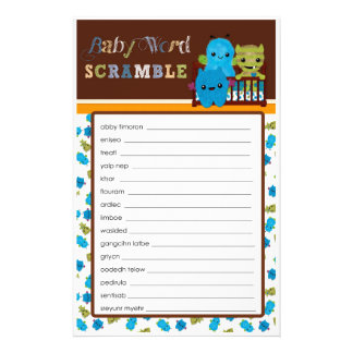 Peek a Boo Monsters Baby Shower Game Word Scramble Flyer