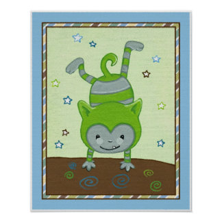 Peek a Boo Monsters Green Monster Nursery Wall Art
