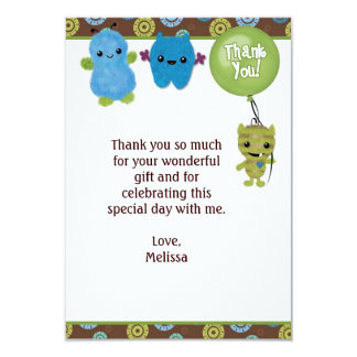 "Peek a Boo MONSTERS Thank You 3.5""x5"" PABC (FLAT) 9 Cm X 13 Cm Invitation Card"