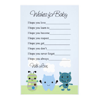Peek a Boo Monsters  Wishes for Baby Stationery Paper