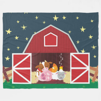 Peekaboo Barn Night Landscape Group 1 Fleece Blanket