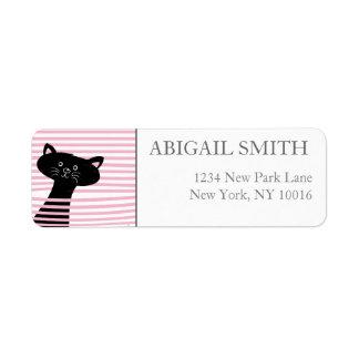 Peekaboo! Cute Black Cat - Return Address Labels