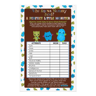PeekaBoo Monsters Baby Shower Game Perfect Baby Flyer