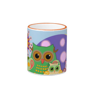 Peekaboo Owls, cute decorative colourful Mug