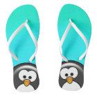 Peekaboo Penguin Aqua Thongs