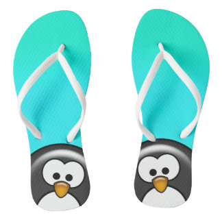 Peekaboo Penguin Aqua Thongs