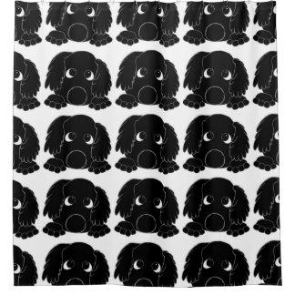 peeking barbet black shower curtain