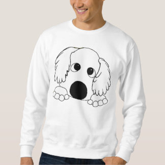 peeking barbet white sweatshirt