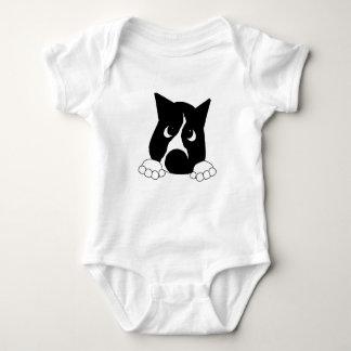 peeking basenji black and white baby bodysuit