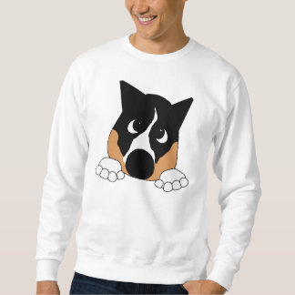 peeking basenji black tan and white sweatshirt