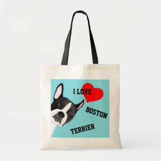 Peeking Boston Terrier Illustrated Tote Bag