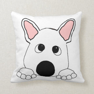 peeking french bulldog  white cushion