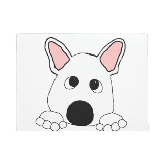 peeking french bulldog  white doormat