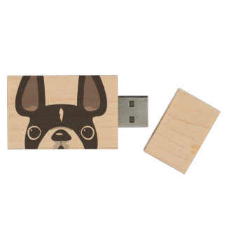 Peeking French USB Maple Flash Drive - Black/White