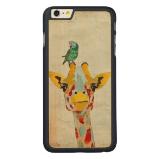 PEEKING GIRAFFE & PARROT Carved iPhone Case