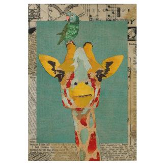 Peeking Giraffe & Parrot Wood Poster