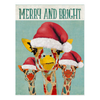 Peeking Giraffes Christmas Postcard