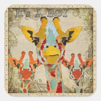 """Peeking Giraffes """"Its A Boy"""" Sticker"""