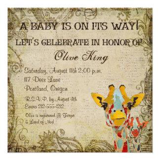 Peeking Giraffes Shabby Baby Shower Invitation