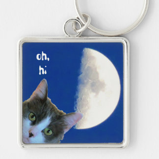 Peeking Kitty with Half Moon says Oh Hi Silver-Colored Square Key Ring