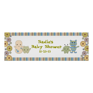 Peeking Monsters Baby Shower Banner Poster