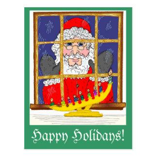 Peeking Santa Postcard