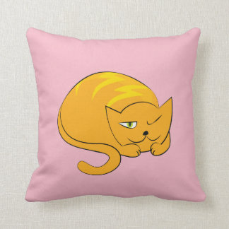 Peeking, Sleeping Cartoon Cat Cushion