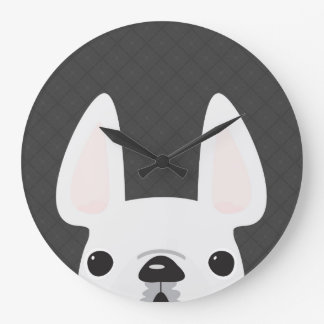 Peeking White French Bulldog Clock
