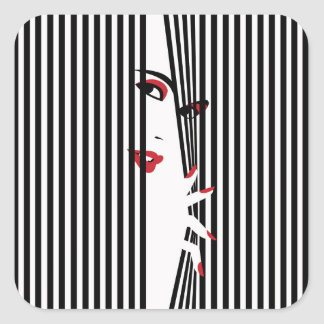 Peeking Woman (White) Sticker