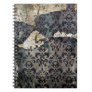 Peeling damask wallpaper pattern notebook
