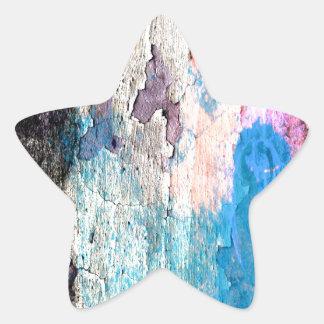 Peeling Paint in Blue, Purple, Pink Star Sticker
