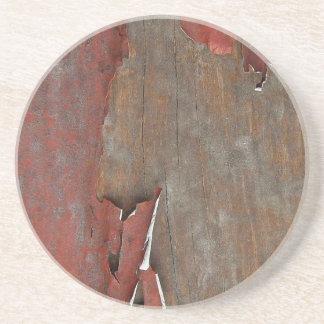 Peeling Red Paint on Old Barn Wood Drink Coaster