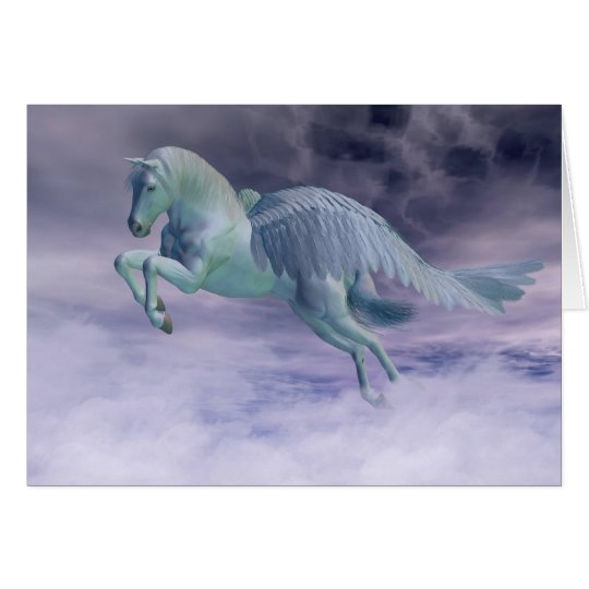 Pegasus Galloping through Storm Clouds Card