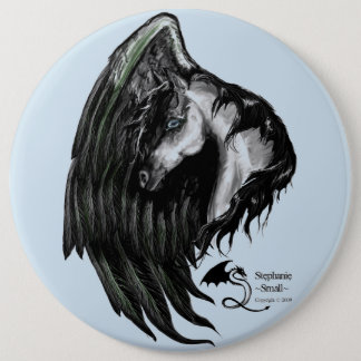 Pegasus Horse winged Flying Pony Button