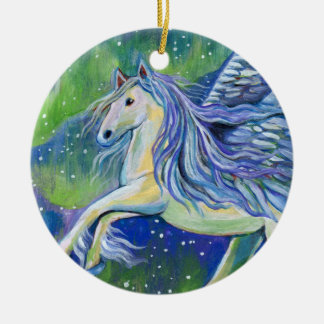Pegasus In Northern Light Ceramic Ornament