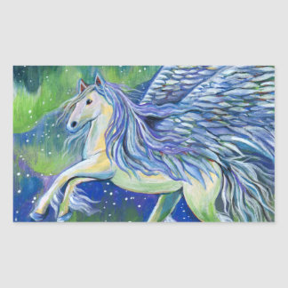 Pegasus In Northern Light Rectangular Sticker