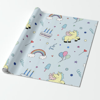 Pegasus party props | light blue | kid birthday wrapping paper