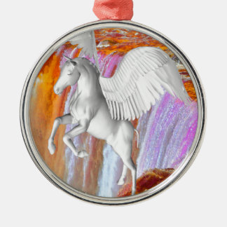 Pegasus Silver-Colored Round Decoration