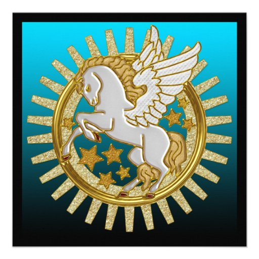 Pegasus Winged Horse Birthday Party Invitations