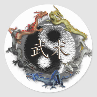 pegatinas 5 dragones classic round sticker