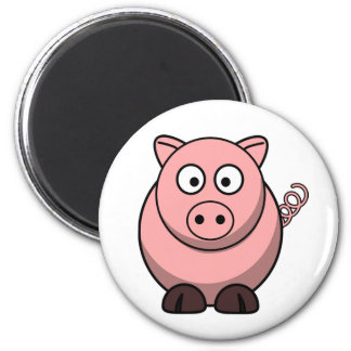Peggy the Portly Pink Pig 6 Cm Round Magnet