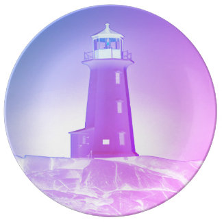 """Peggy's Cove"""" Lighthouse ""Lighthouse purple Plate"