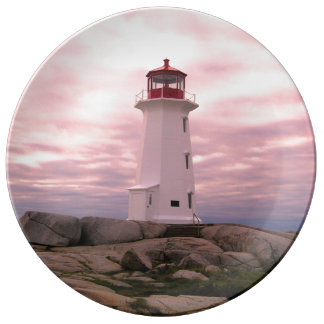 """Peggy's Cove"""" Lighthouse ""Lighthouse Route"" pink Plate"
