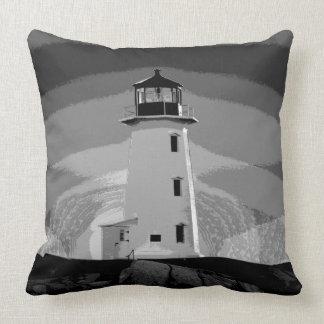 """Peggy's Cove Nova Scotia""""Lighthouse grey white Cushion"