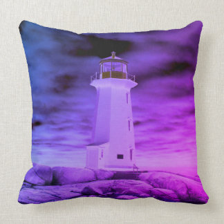 """Peggy's Cove Nova Scotia""""Lighthouse Route purple Cushion"