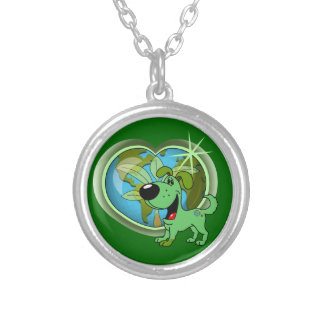 PEGUI Pups Earth Day - Leaf Round Pendant Necklace