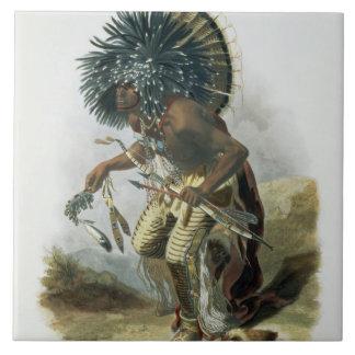 Pehriska-Ruhpa, Minatarre Warrior in the Costume o Ceramic Tile