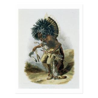 Pehriska-Ruhpa, Minatarre Warrior in the Costume o Postcard