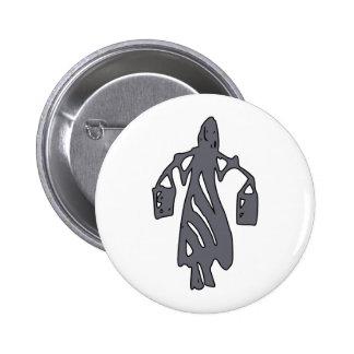 Peileppe Tribal Art Woman w Bucket Silhouette Maid Pinback Button